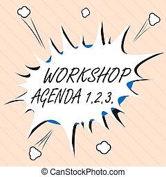 atelier, concept, mot, aide, business, horaire, texte, écriture, 1.2.3.., ensure, ordre du jour, reste, événement