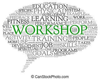 atelier, concept, mots, apparenté, apprentissage