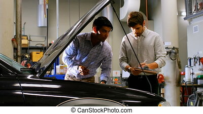 atelier, examiner, voiture, ingénieurs, 4k, moteur
