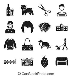 atelier, food, architecture and other web icon in black style. clothing, accessoire, industry icons in set collection.