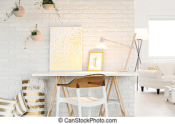 atelier, mit, wohnzimmer, raum