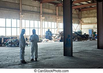 atelier, ouvriers, traitement, gaspillage, vide