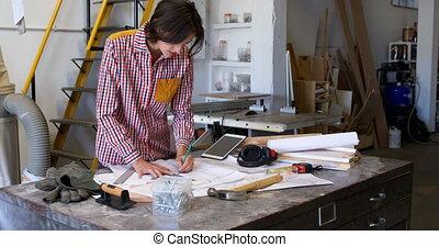 atelier, plan, charpentier, fonctionnement, 4k