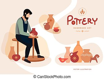 atelier, poterie, poster.