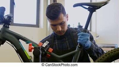 atelier, réparation, vélo, homme, 4k