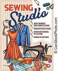 Atelier sewing and tailoring vector sketch poster
