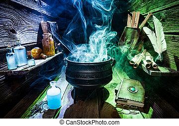 atelier, sorcière, bleu, fumée, halloween, vert, magique
