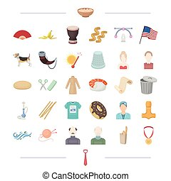 atelier, weather and other web icon in cartoon style. appearance, Viking, america icons in set collection.