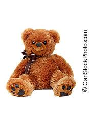 ateljé fotograferade, av, björn, leksak, isolerat, vita, bakgrund.