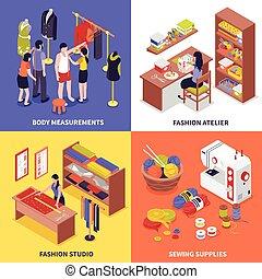 atelje, design, begrepp, mode, 2x2