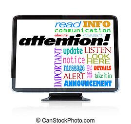 atenção, alerta, anúncio, palavras, ligado, hdtv, televisão