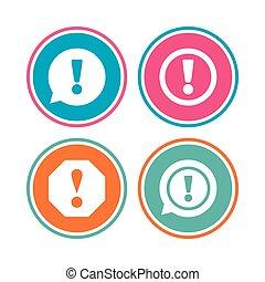 atenção, icons., exclamação, fala, bubble.