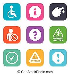 atenção, notificação, icons., informação, signs.