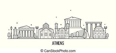 atenas, edificio, greecevector, perfil de ciudad