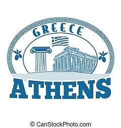 atenas, grécia, selo, ou, etiqueta