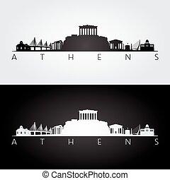 atenas, skyline, e, marcos, silueta