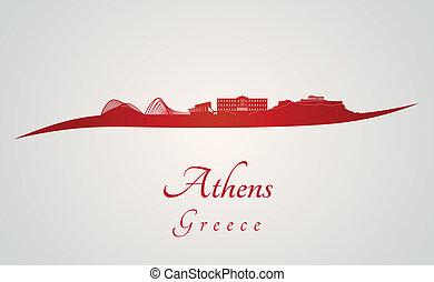 atenas, skyline, em, vermelho