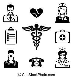 atención médica, salud, iconos