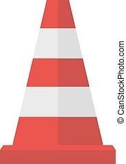 atención, símbolo, conos, construcción de carreteras, rayas, vector, caricatura, rojo, illustration., plano