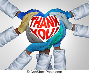 atención sanitaria, agradecer, trabajadores, usted