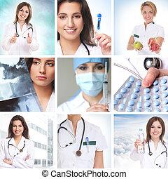 atención sanitaria, collage, hecho, de, algunos, cuadros