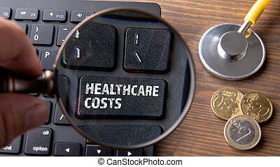 atención sanitaria, de madera, costs., computadora, tabla, ...