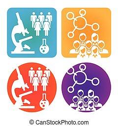 atención sanitaria, médico, elaboración de gráficos, gente, o, científico, descubrimiento, iconos, enfermedad