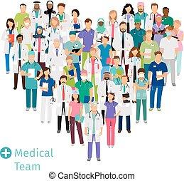 atención sanitaria, médico, forma, corazón, equipo