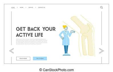 atención sanitaria, orthopedist, ortopedia, hospital., x-ray., paciente, lineal, tratamiento, estante, template., aterrizaje, página, coyuntura, pie, inmenso, médico, carácter, doctor, podiatry, rodilla, ilustración, vector