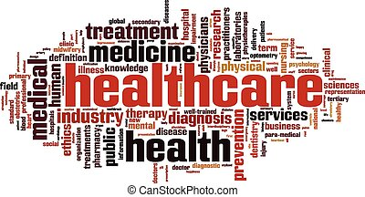 atención sanitaria, palabra, nube