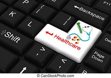 atención sanitaria, tecla de ingreso