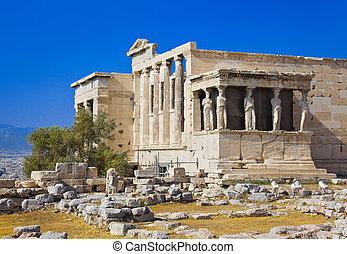 atene, acropoli, erechtheum, tempio, grecia