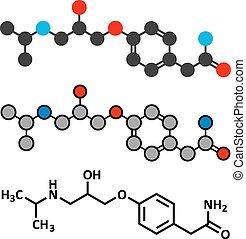 Atenolol hypertension or high blood pressure drug (beta blocker) molecule.
