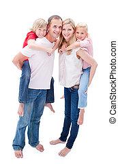 atento, pais, crianças, seu, passeio, dar, piggyback