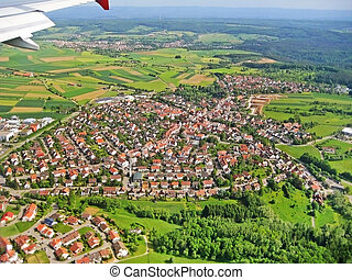 aterragem, aproximação, -, vila, vista aérea