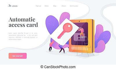 aterragem, página, acesso, segurança, cartão, template.
