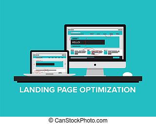 aterragem, página, optimization, conceito