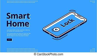 aterrizaje, icono, teléfono, móvil, llave, página, hogar, elegante