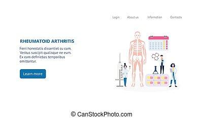 aterrizaje, página, artritis, app, diagnóstico, rheumatoid, tratamiento, plantilla