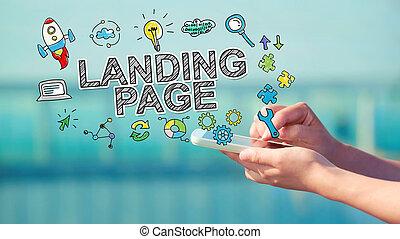 aterrizaje, smartphone, concepto, página