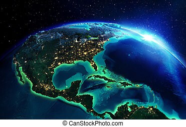 aterrize área, en, norteamérica