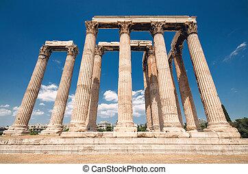 athènes, olympian zeus, greece., temple