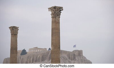 athènes, zeus, olympian, greece., acropole, temple