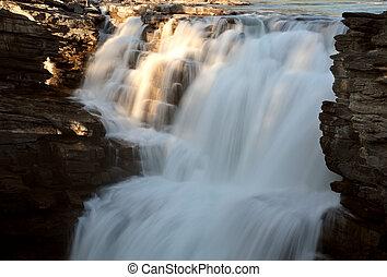 athabasca, cadute, in, jasper parco nazionale