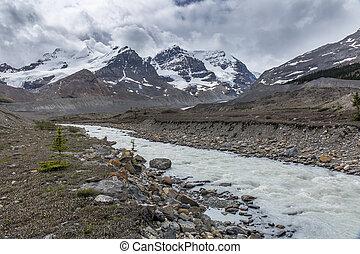 athabasca,  -, nazionale, parco, diaspro, fiume