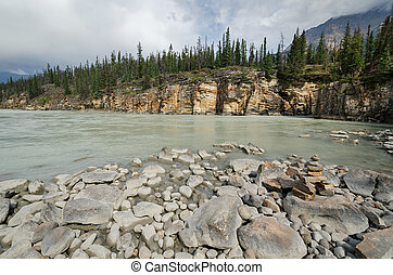 Athabasca River - landscape on the Athabasca River in Canada