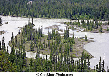 Athabasca River from Old Fort Mountain just outside, Jasper,...
