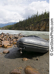 Athabasca River Trip - Raft in place for the trip down the...