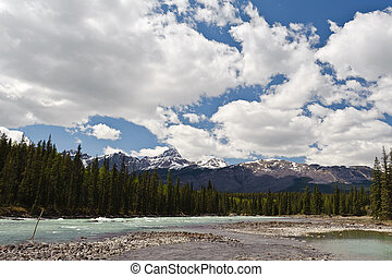 Athabasca River view of Columbia Icefield in Jasper National...