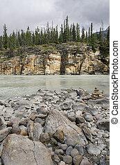 athabasca, vízesés, alatt, kanada